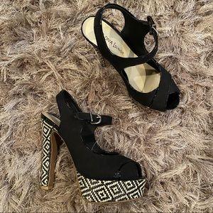 Diva Lounge Black Platform Peep Toe Heels